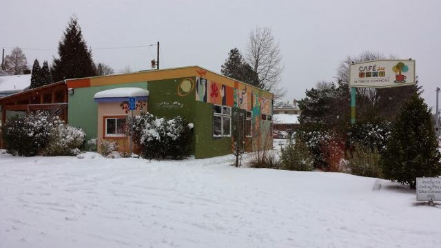 Cafe au Play Covered in Snow